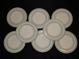 Set-of-8-STONEY-HILL-China-SOFT-COUNTRY-Green-Bands-8-3-4-034-Salad-Plates