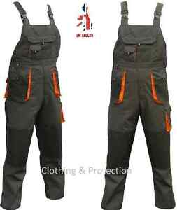 New Mens Bib and Brace Overalls / Cargo Combat Work Trousers Knee pads pockets