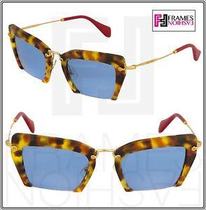b3d1bdecfe3e MIU MIU NOIR RASOIR 10Q Square Orange Red Gold Blue Mirrored Women ...