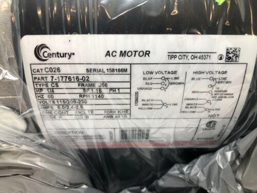 Century C026 1//4 HP 1140 RPM TENV 115-208//230V Transformer Cooling Fan AC Motor