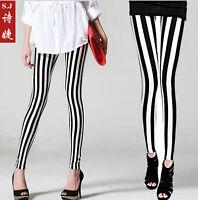 One Size Punk Women Stockings Printed Black white stripe leggings 2 Colors P92