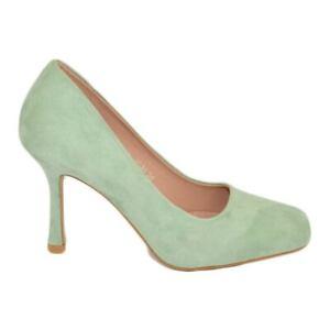 Decollete' donna a punta quadrata verde pastello tacco martini 9 cm scamosciato