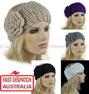 Crocheting Over A Hair Band : Crochet Headband Hair Band Knit Knitted 3D Flower LOOP eBay
