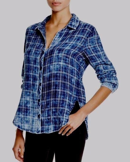 NEW CLOTH & STONE WOMEN SzL BUTTON DOWN LONG SLEEVE SHIRT PLAID blueE CLOUD MULT