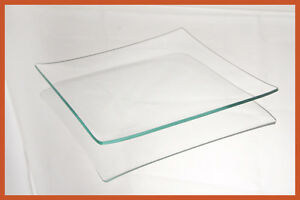 "7"" Square Clear ""BENT"" Glass Plate 1/8"""