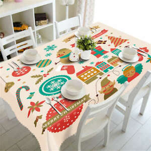 Christmas Cards 3D Tablecloth Table cover Cloth Rectangle Wedding Party Banquet