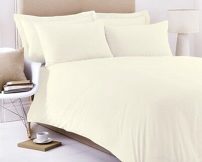 PLAIN DYED CREAM  EGYPTIAN COTTON 200 THREAD COUNT DUVET COVER AND PILLOWCASES