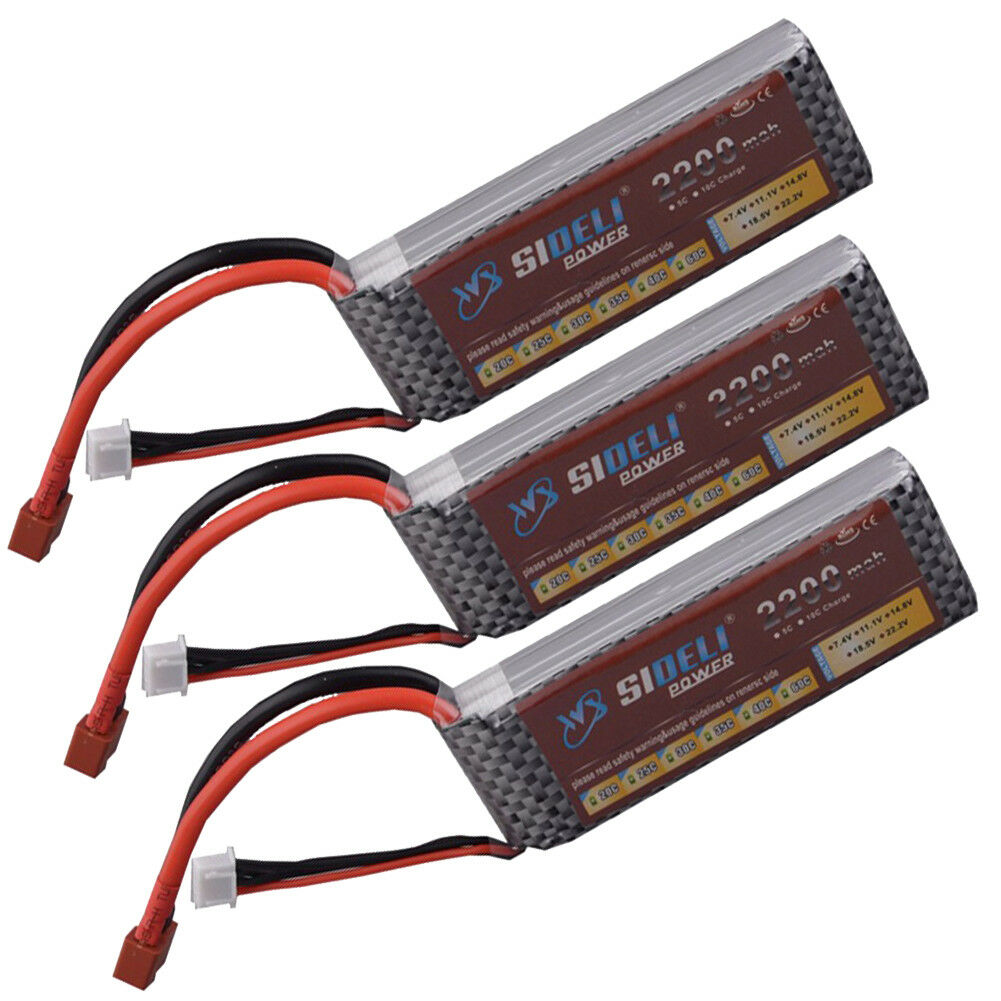3pcs 2200mAh 11.1V 3S 25C LiPo Battery For RC Car Airplane Helicopter Frame Kit