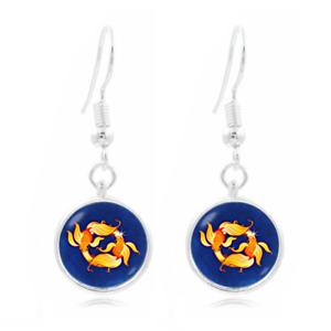 Zodiac Pisces Photo Art Glass Cabochon 16 mm Charme Boucle d/'oreille Boucle d/'oreille crochets