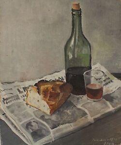 pierre lelong peinture nature morte bouteille de vin verre pain journal 1934 ebay. Black Bedroom Furniture Sets. Home Design Ideas