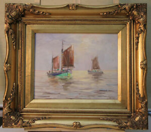 Fred-Moller-Hamburg-Oil-Painting-Sailing-boats-listed