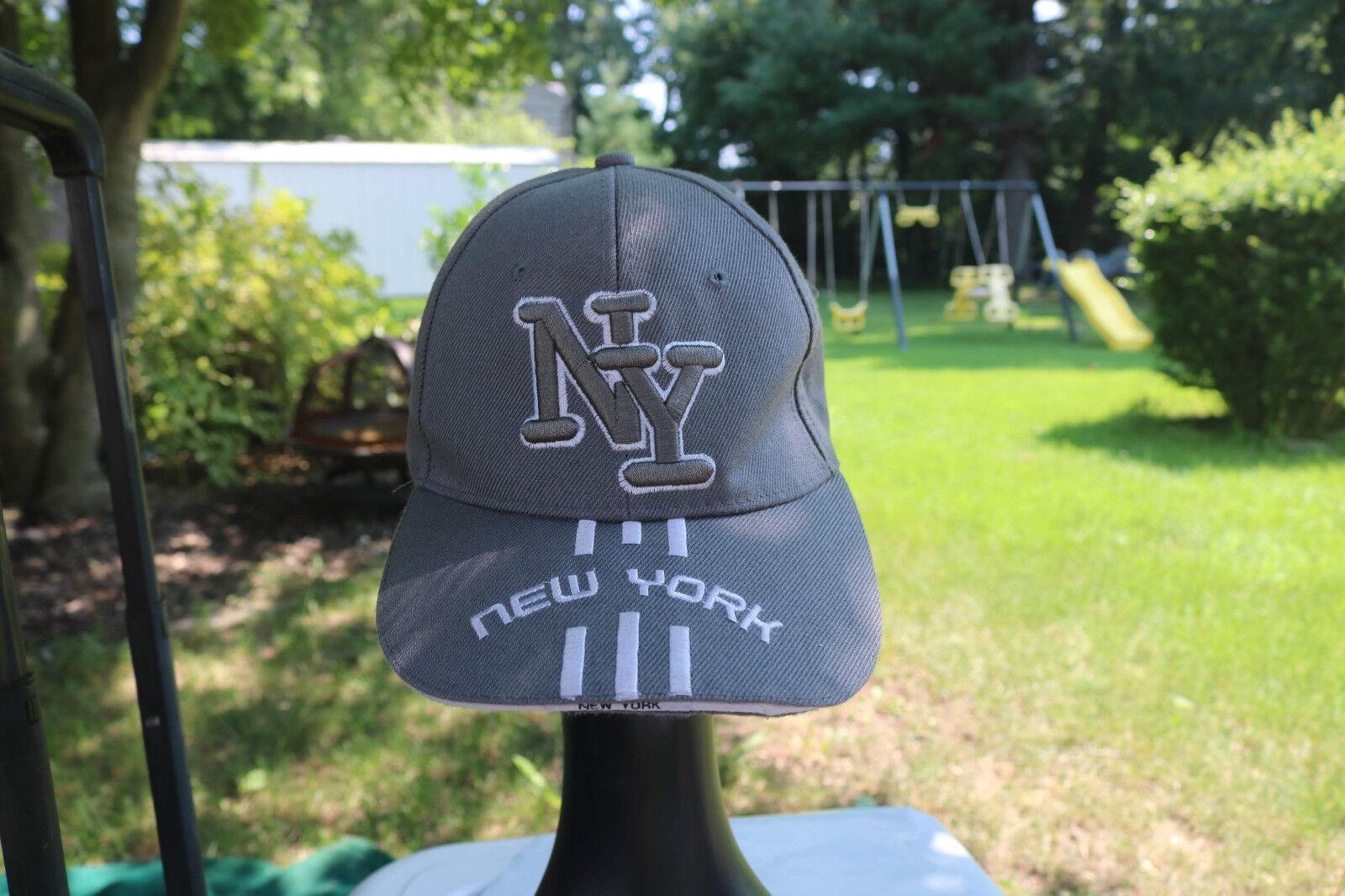 Gray Fastening Baseball Cap - NY NEW YORK - Back Fastening Gray Wool Blend One Size 0b53aa