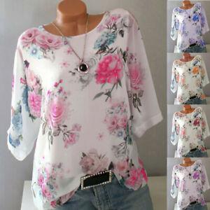 Summer-Women-Plus-Size-Loose-Floral-Print-Slash-Neck-Blouse-Pullover-Tops-Shirt