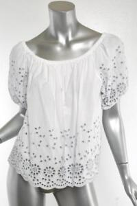 5a3a3cd7 Details about SEE BY CHLOE Womens White + Blue Eyelet-Lace Elastic  Off-Shoulder Top 4-36 NEW