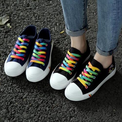 Femmes Neuf à Lacets Décontractées multicolores Toile Plat Chaussures Respirant Baskets