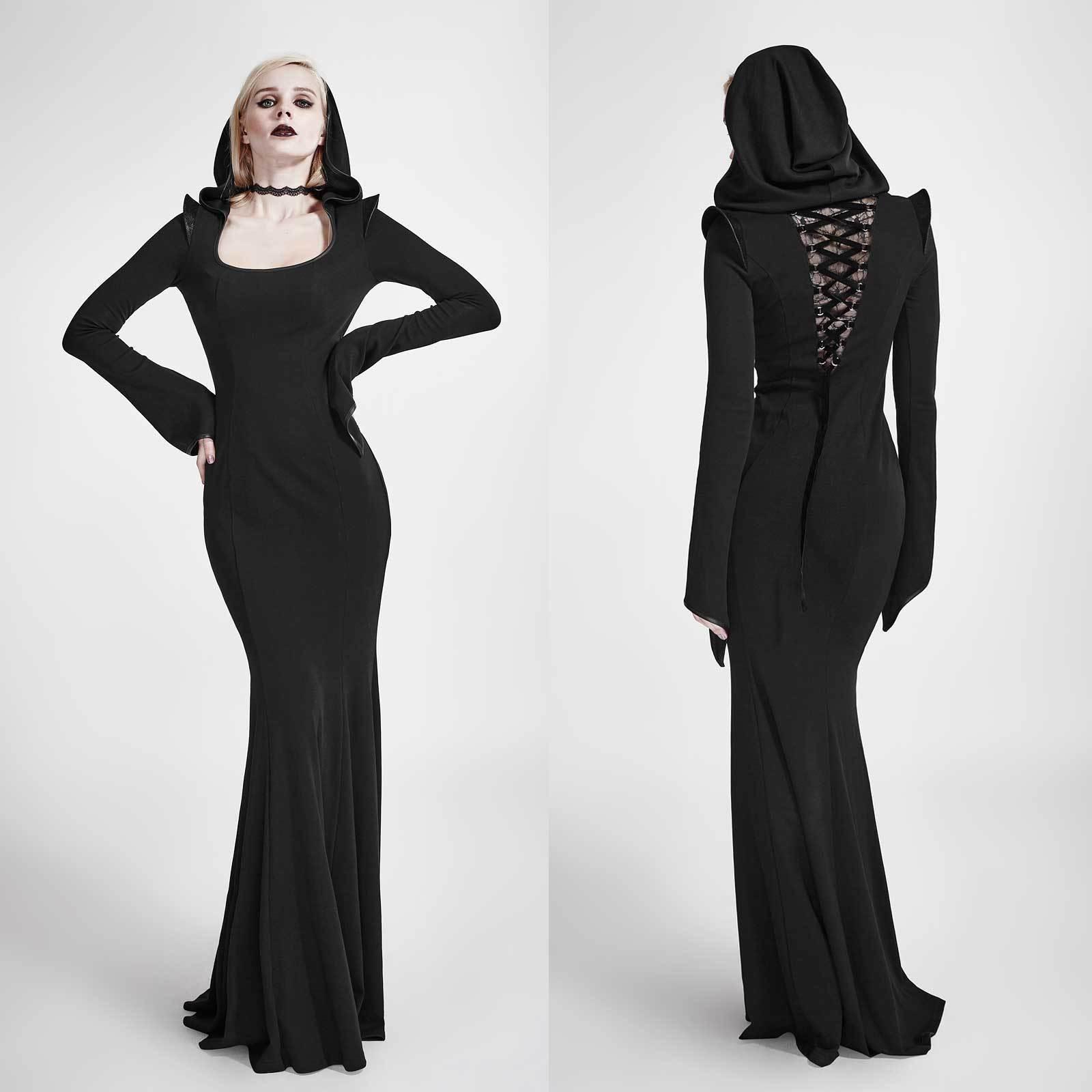 Punk rave gothic vestito abito con cappuccio cappuccio cappuccio Hooded Goth DRESS WICCA STREGA Maga Magò 0fc8fc