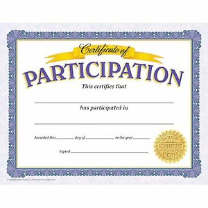 30 Certificate of Participation Certificates - Printer Compatible