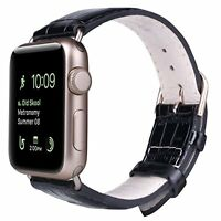 Black Leather Replacement Strap Bands With Golden Buckle For Apple Watch 38mm