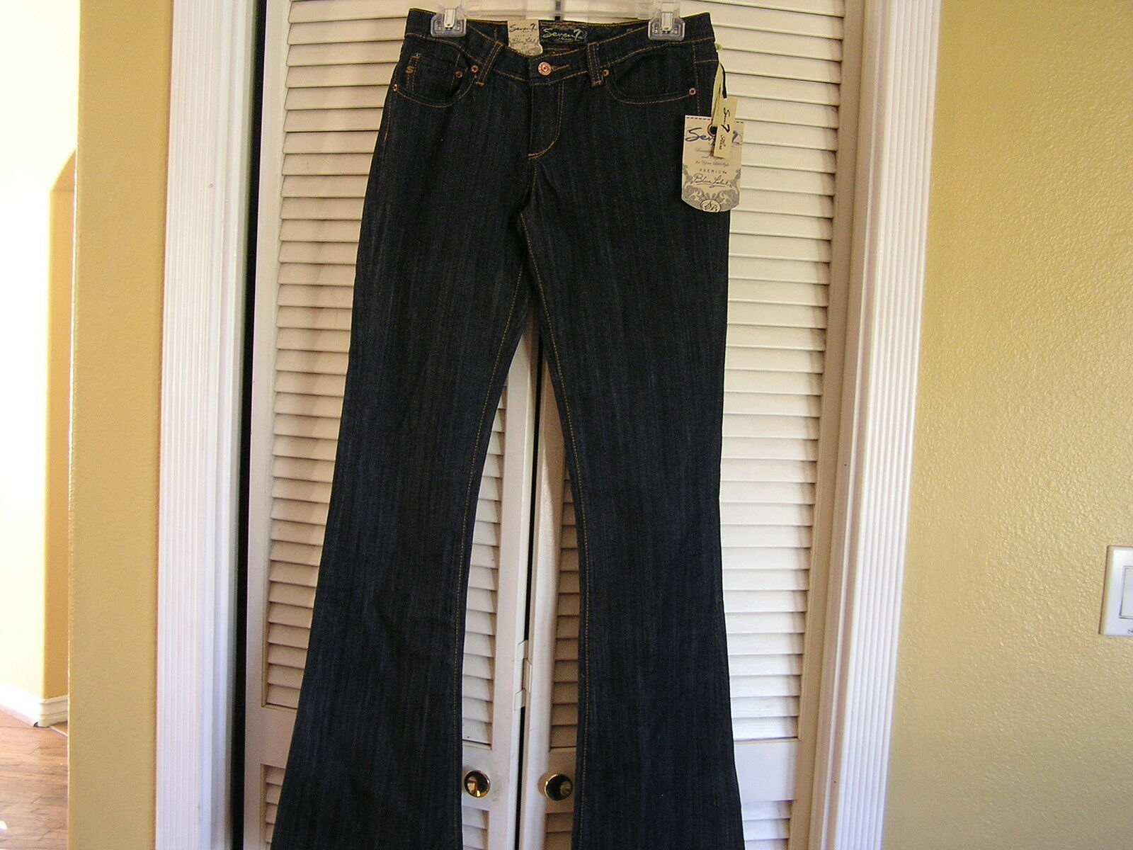 Seven 7 For All Mankind bluee Label Flare Jeans Woman's 28 Dark Wash Stretch NWT