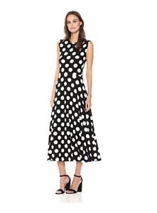 350e693a565db Image is loading NORMA-KAMALI-Women-039-s-Sleeveless-Flaired-Polka-
