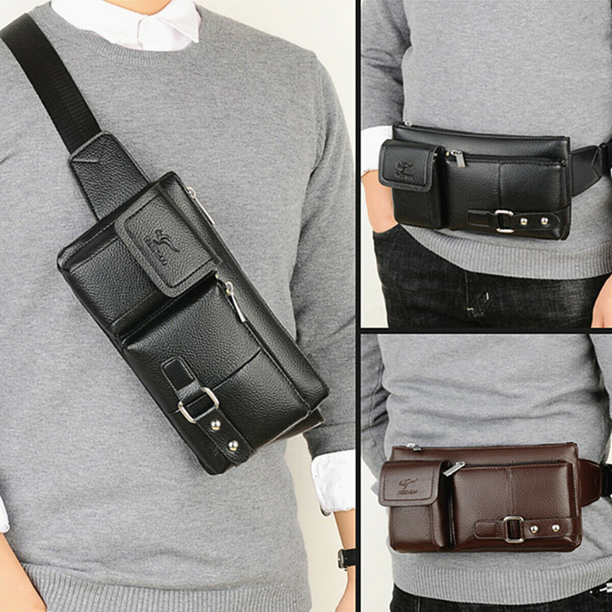 Mens Women Leather Waist Fanny Pouch Pack Travel Bag Belt Holiday Casu... - s l1600