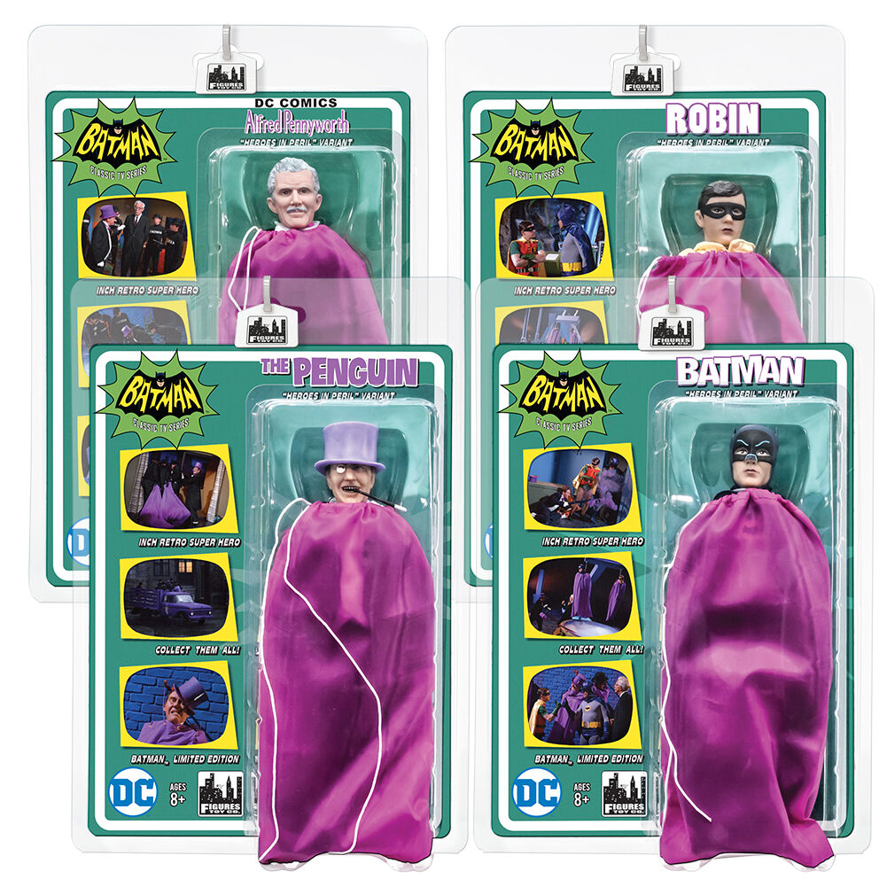 Batman 66 Classic TV Show Retro Style Figures  Set of all 4 Purple Bag Variants