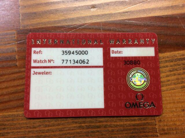omega international warranty card 35945000  free shipping