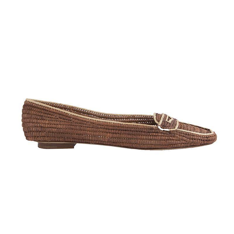 52752 auth EMMA HOPES marrón raffia Penny Loafers Flats zapatos 38 NEW