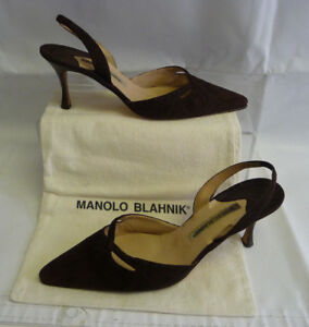 MANOLO-BLAHNIK-Heels-Size-39-9-Brown-Suede-Slingback-Leather-Pointed-Toe-Italy