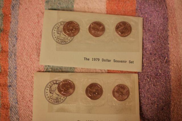 Anthony Dollars Souvenir 2 Coin Set P D Mint Envelope SBA Dollar 1999 Susan B