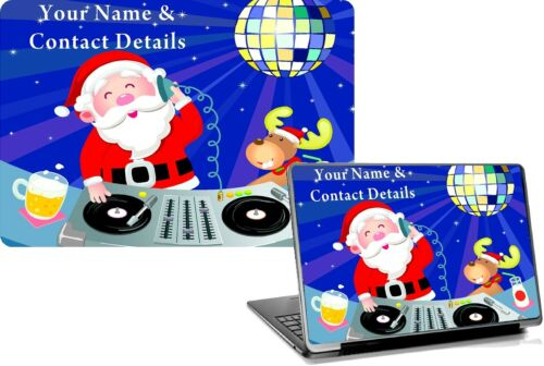 Laptop Skins DJ SANTA  Personalised Name Easy Fit