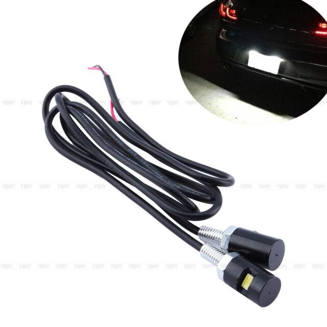 2 x White LED Motorcycle & Car License Plate Screw Bolt Light Lamp 12V 1W