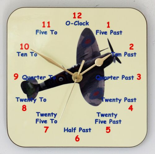Childrens Teaching Wall Clock Spitfire Learn to tell the Time Size 19cm by 19cm