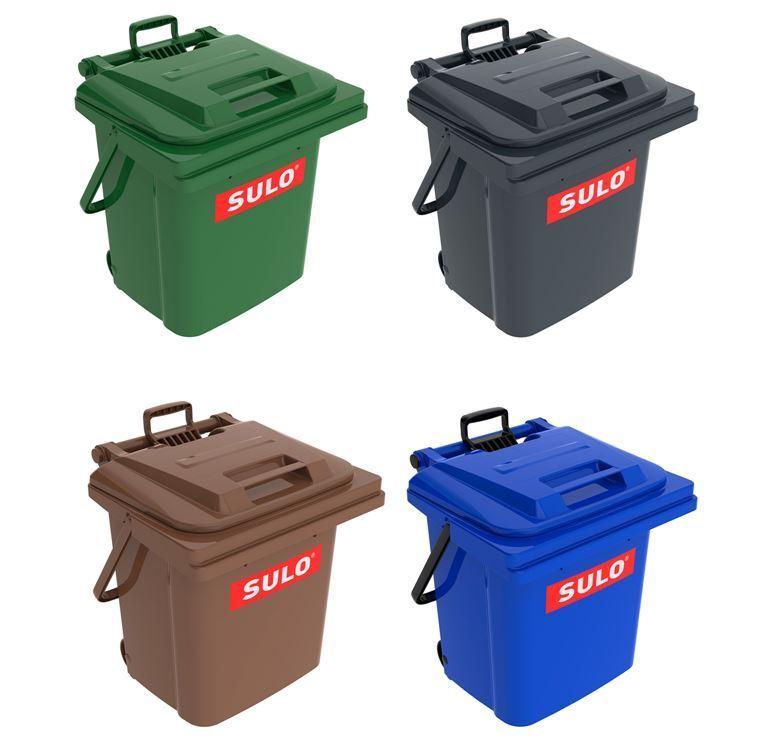 45 L SULO Mülleimer Abfallbehälter Rollbox Mülltonne mit Tragegriff + Rollen NEU