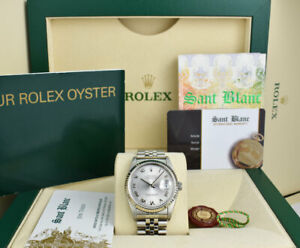 Rolex 36mm White Gold & Stainless Steel Datejust Silver Roman 16234 SANT BLANC