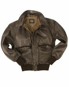 MIL-TEC-A2-LEATHER-FLIGHT-JACKET-CLASSIC-MILITARY-ARMY-MENS-BOMBER-BRAND-NEW