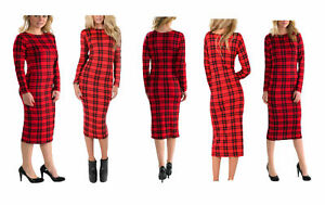 Femmes-Tartan-Rouge-a-Manches-Longues-Stretch-Moulante-Femmes-Midi-Robe-Plus-Taille-8-26