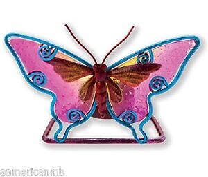 """Pink Butterfly Metal Tealight Candle Holder Tea Light 5"""" x 3 1/4"""""""
