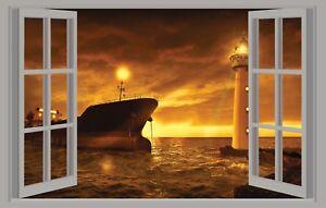 Trompe L Oeil Adesivi Murali.Wall Stickers Adesivi Murali Faro Barca Mare Trompe L Oeil Finestra