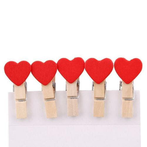 T Mini Hearts Wooden Pegs Photo Clips Craft Wedding Party Decor NEW