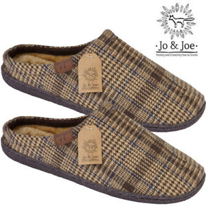 MENS-TARTAN-SLIPPERS-LOAFERS-TEXTILE-SHEEPSKIN-FUR-LINED-WINTER-WARM-HALF-SHOES