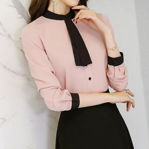Women-OL-Formal-Shirt-Top-Ladies-Long-Sleeve-Office-Uniform-Tops-Blouses