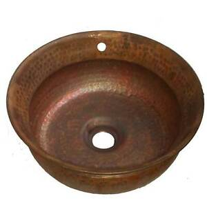 Details About Overflow Artistic Pure Natural Round Copper Vessel Sink
