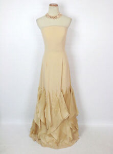 New-Champagne-Strapless-Bridal-Prom-Formal-Evening-Dress-Custom