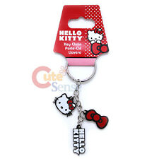Sanrio Hello Kitty Pendent Metal Key Chain 3 Pendents Kitty Face Bow Logo