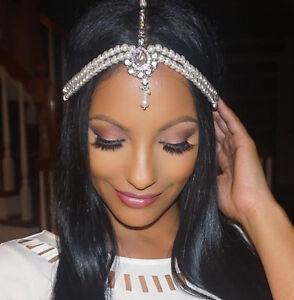 Image Is Loading Pearl Kundan Head Chain Wedding Bride Bridal Hair