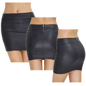 Damen-Wetlook-Bodycon-Kurz-Mini-Rock-Freizeit-Figurbetont-Stretch-Bleistiftrock
