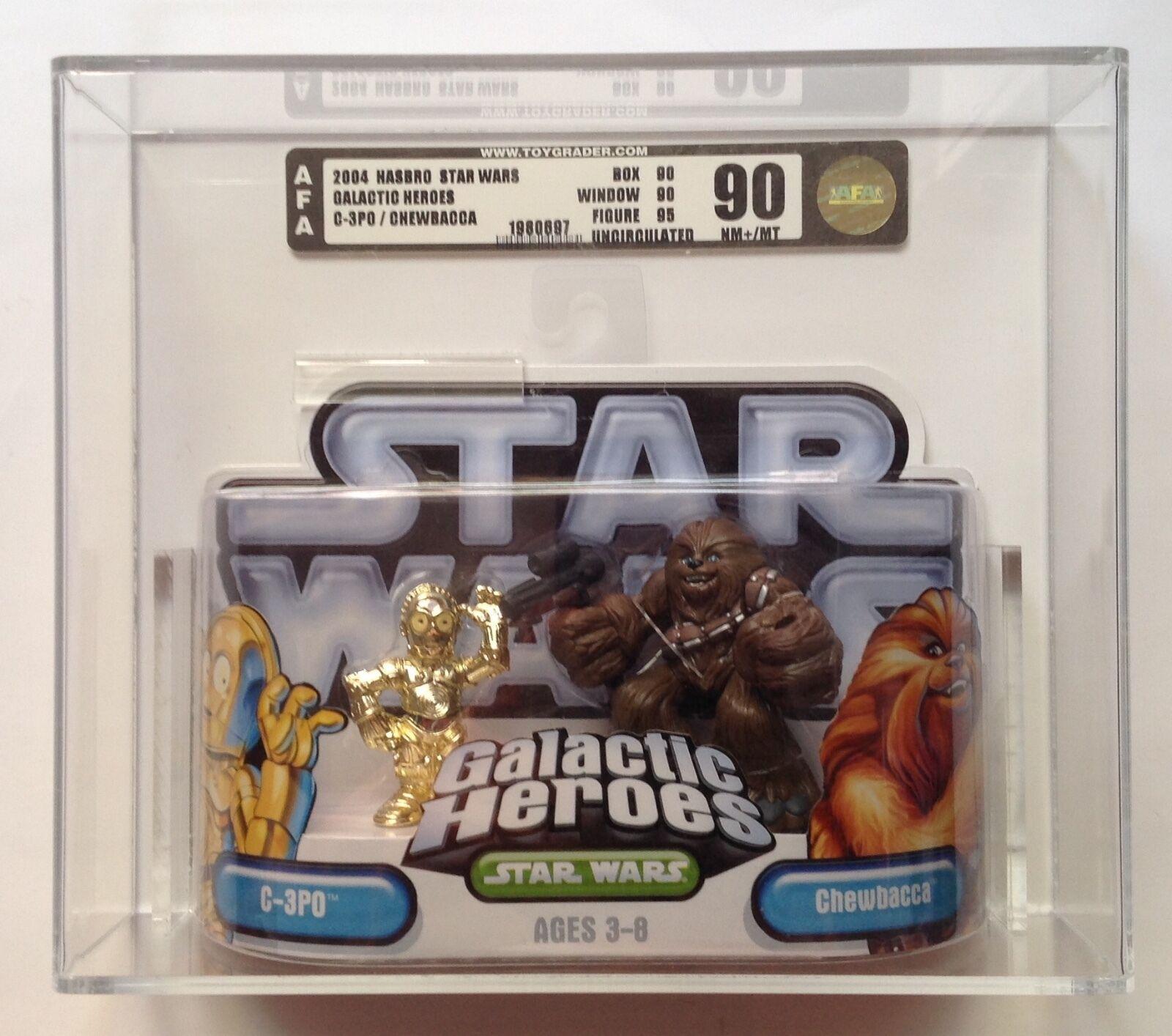 Star Wars Galactic Heroes C-3PO and Chewbacca AFA U90 NM+/MT Hasbro 2004