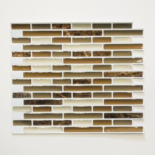 selbstklebende Mosaik Klebefolie braun beige Fliesenspiegel Vinyl-24088|4 Matten