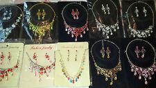 Joblot 10 pcs Diamante sets - Necklace & Earrings Wedding Prom wholesale A2
